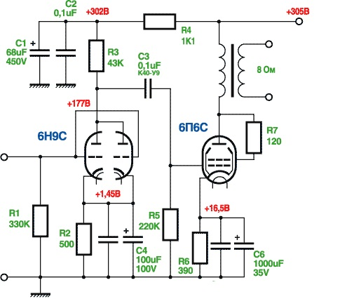 Ламповый усилитель SE на 6Н9С